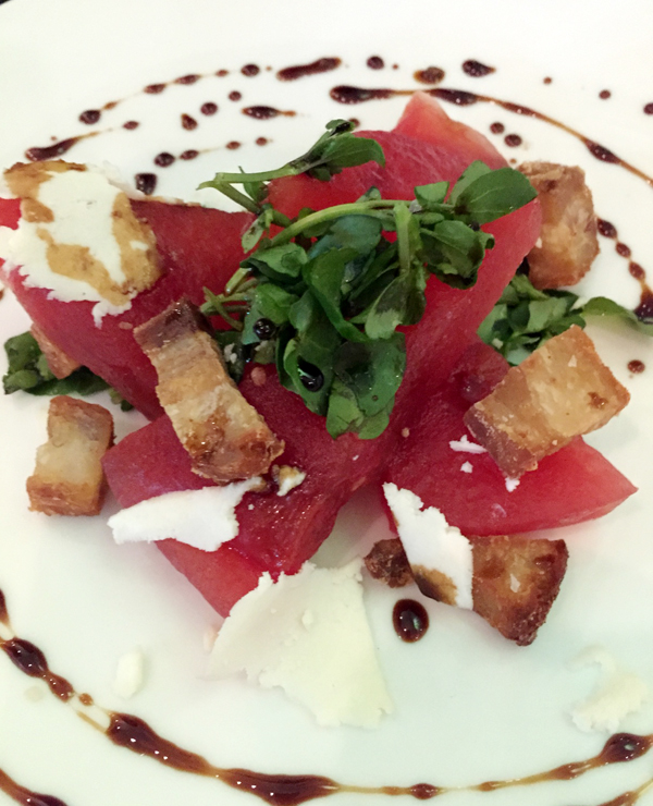 Watermelon Salad with Pork Belly Croutons, Ricotta Salata, and ...